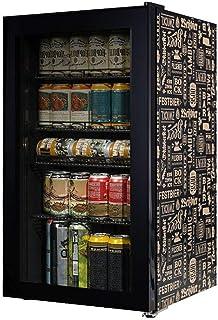 JTJxop Mini Frigo, Mini Réfrigérateur De 105 Canettes avec Porte en Verre pour Bière, Soda Ou Vin, Refroidisseur À Vin sou...