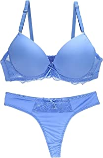 Bra and Thong Pantie Set for Women, Blue