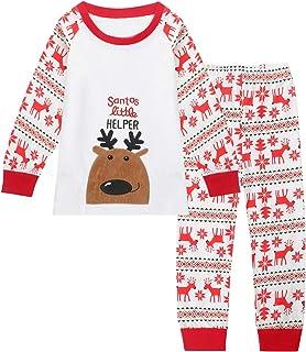 Miyanuby Pigiami Due Pezzi Set di Abbigliamento Neonate Maschi in Cotone Pigiama Natalizio Babbo Natale T-Shirt Manica Lunga Pantaloni 2-7 Anni Bambini Sleepwear Camicie da Notte Abiti