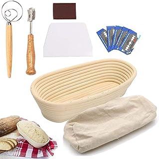 UHAPEER Banneton Panier à Pain, Paniers de Cuisson en Rotin Bambou avec sac à pain, grattoir, fouet, lame, pour boulanger,...