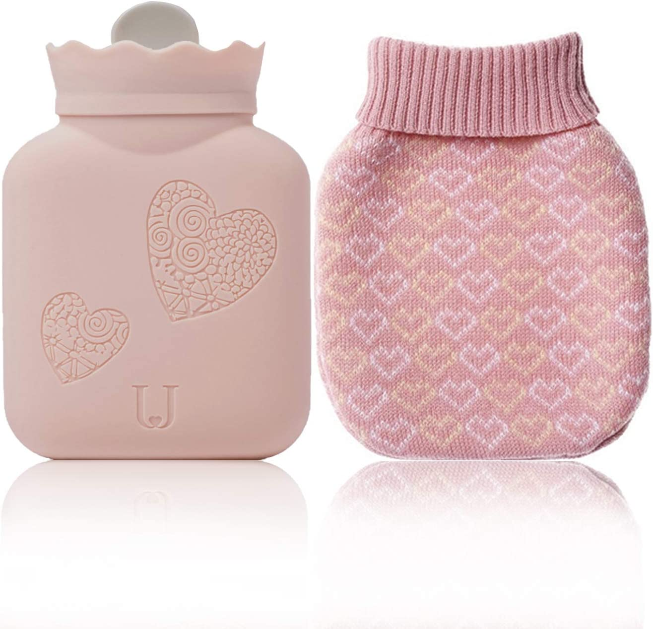 Microwave Heating Silicone Hot Water Bottle Bag with Knit Cover, Hot & Cold Therapies Back pain - Gift for Girlfriend,Mather,Valentine's Day : Health & Household