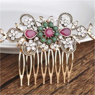 Hair Clip Retro Turkish Bride Wedding Hair Accessories Red Flower Hair Combs Hair Needles Head Jewelry For Women Girl Tiar...