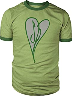 Heart Tri-Blend Ringer Shirt Heather Green with Dark Green Rings, Great Daily Comfy T-Shirt and Great for Cosplay!