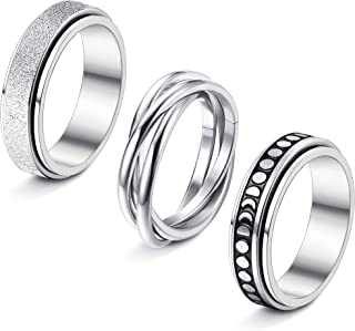 sailimue 3 Pcs Stainless Steel Spinner Rings for Women Men Couple Rings Fidget Band Cool Rings Moon Star Celtic Stress Rel...