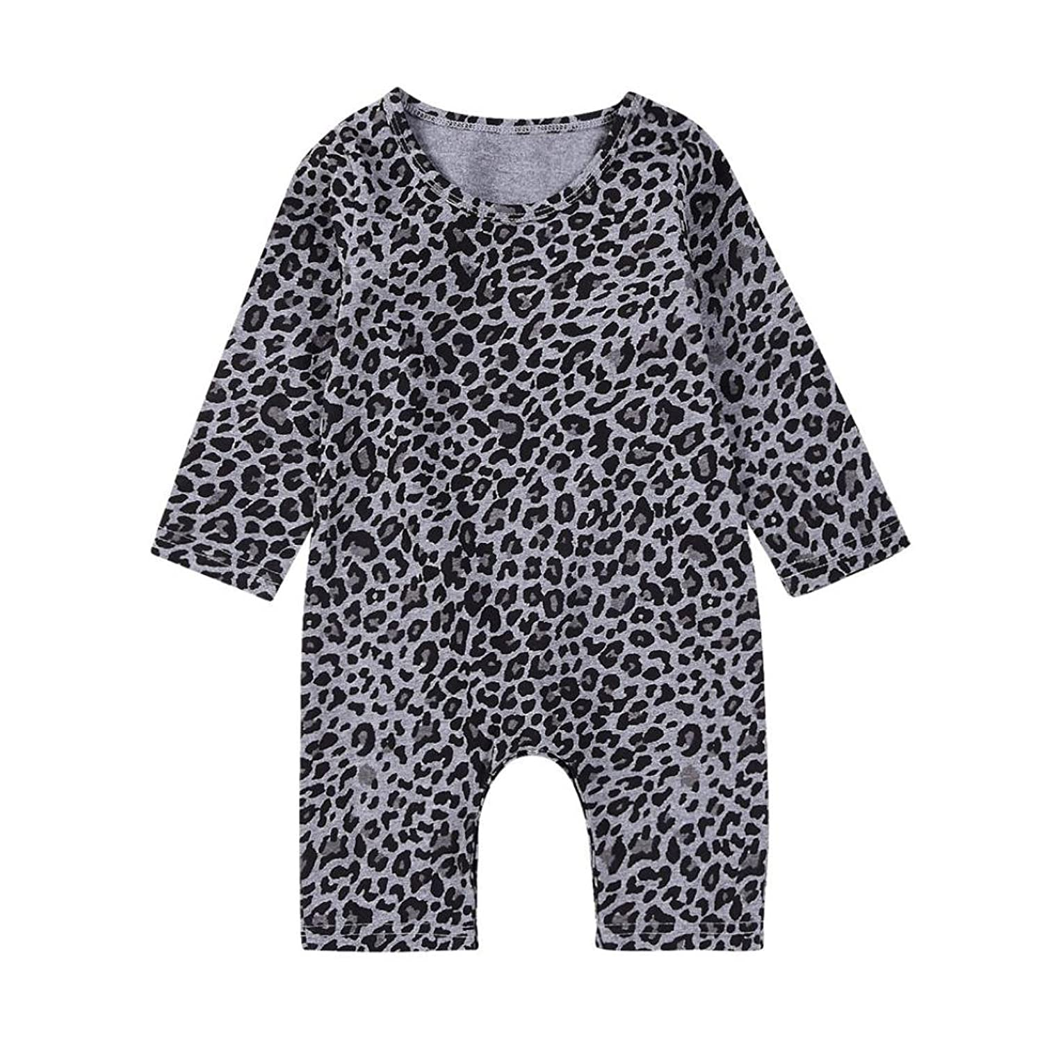 Fabal Toddler Newborn Baby Boys Girls Leopard Print Rompers Jumpsuit Outfits Clothes