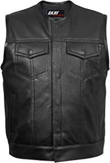 Men's Sons of Anarchy Genuine Perforated Cow Leather Rider Biker Vest Waistcoat XS~7XL
