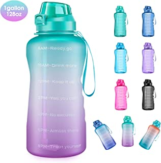 4AMinLA Motivational Gallon Water Bottle with Time Marker & Straw,  Large Capacity Leakproof BPA Free Fitness Sports Water Jug