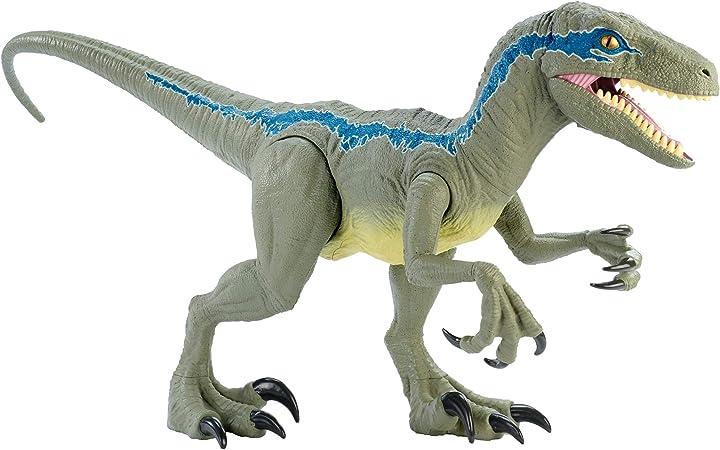Velociraptor jurassic world- dino rivals blu dinosauro articolato da 37 cm, giocattolo per bambini 3+anni, gct GCT93