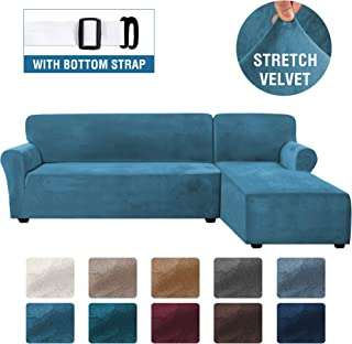Rich Velvet Stretch 2 Pieces L-Shaped Sofa Covers Anti-Slip Sectional Sofa Slipcovers with Straps Bottom Luxury Thick Velvet Corner Sofa Cover(Large Size=Right Chaise with 2 Seater, Peacock Blue)