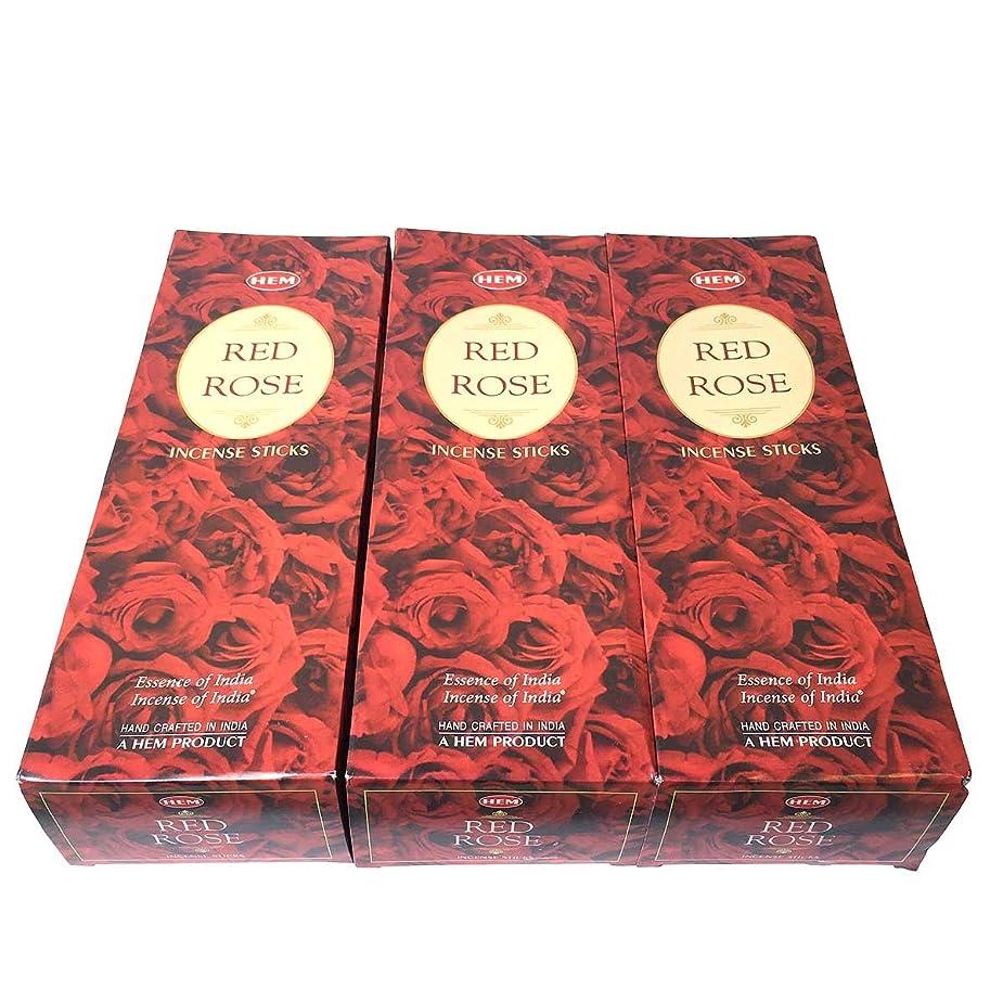 乱用祈る演劇レッドローズ香スティック 3BOX(18箱) /HEM RED ROSE/インセンス/インド香 お香 [並行輸入品]