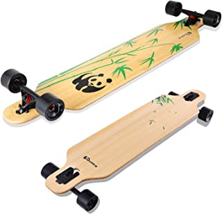 Lrfzhicg Drop Through Longboard Bamboo Downhill Cruising Longboard Skateboards