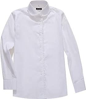 AOLIWEN Girl's Long Sleeve Ruffle Shirts School Uniform Blouse Slim Fit Shirt