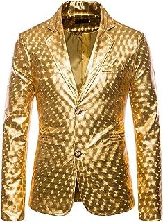 KXZD Shiny Sequins Suit Jacket Blazer One Button Tuxedo for Party Wedding Prom Nightclub Men's Sequin Blazer Coat One Butt...