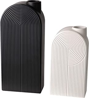 TERESA'S COLLECTIONS Ceramic Flower Vase, Set of 2 Black and White Modern Geometric Decorative Vases Set for Centerpieces,Kitchen,Office,Wedding or Living Room