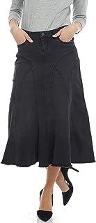 ESTEEZ Women's Denim Midi Skirt- A-Line - Stretch Jean Skirt - Pockets - Aspen