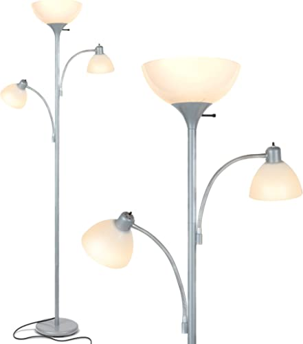 Brightech Sky Dome Double – High Brightness Torchiere Floor Lamp with 2 Reading Lights for Living Rooms, Bedrooms – R...