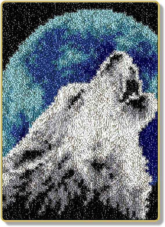 15 in Wolf Muster 38cm//20 Handarbeit Selbst Kn/üpfen Set Wolle Gekn/üpft Kn/üpfen Kissenbezug Stickerei Set Latch Hook Kit Child Rug,Wolf,52 DIY Kn/üpfteppich Formteppich