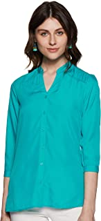 Styleville.in Women's Button Down Casual Top with Band Collar