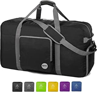"WANDF 24"" ~ 36"" Foldable Duffle Bag 60L ~ 120L for Travel Gym Sports Lightweight Luggage Duffel 10 Color Choices"