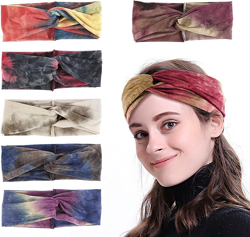 6Pcs Tie Dye Headband Headwrap Adjustable Soft Hairband Elastic Twist Hair Band Cute Accessories for Women Girl