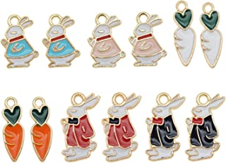 JJG 24pcs Assorted Gold Plated Enamel Rabbit Carrot Dainty Dangle Pendants Charms for Earrings Jewelry Making Necklace Bra...