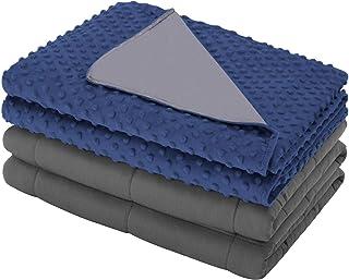 Eletecpro - Manta terapéutica con funda nórdica extraíble de algodón 100%, manta terapéutica con perlas de cristal, manta pesada para adultos y mujeres, azul oscuro, 150x200cm-6.8kg