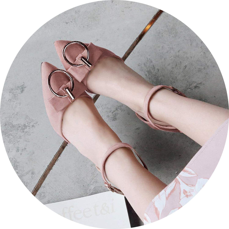 FINDYOU Sexy Pointed Toe Bowtie Thin High Heel Sandals Ankle Straps Fashion Black Beige Stilettos
