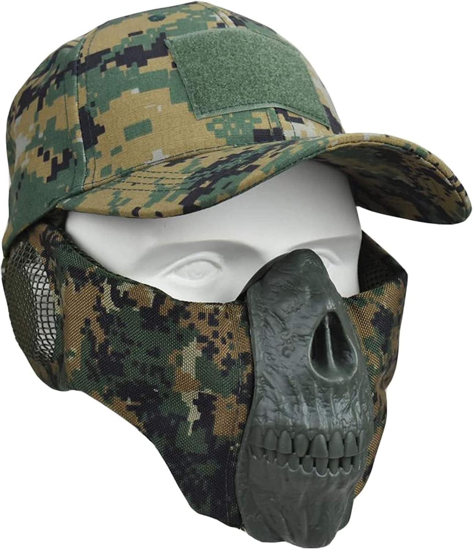 XBYN Airsoft Masks -Half Face máscara de cráneo con protección contra el oído y Tapa de béisbol Ajustable para Airsoft/Paintball/BB Gun/CS Juego/Caza/Disparos (Color : DW)