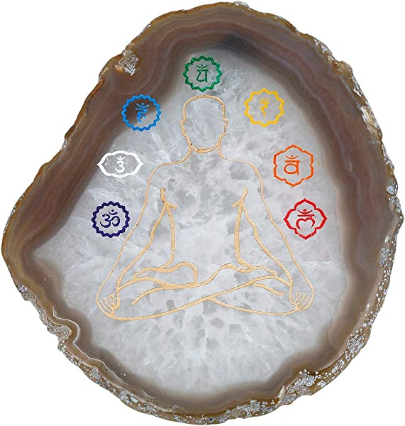 Rockcloud 1 PC 7 Chakra Agate Slices Geode Stones Place Card Irregular Home Decoration Healing Crystals Collection 3 5 4 3
