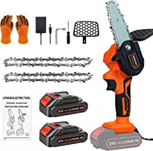 ZRSDIXKI Mini Chainsaw, 4inch Cordless Electric Chainsaw Kit Portable Handheld Chainsaw for Daily Use Rechargeable Chainsa...