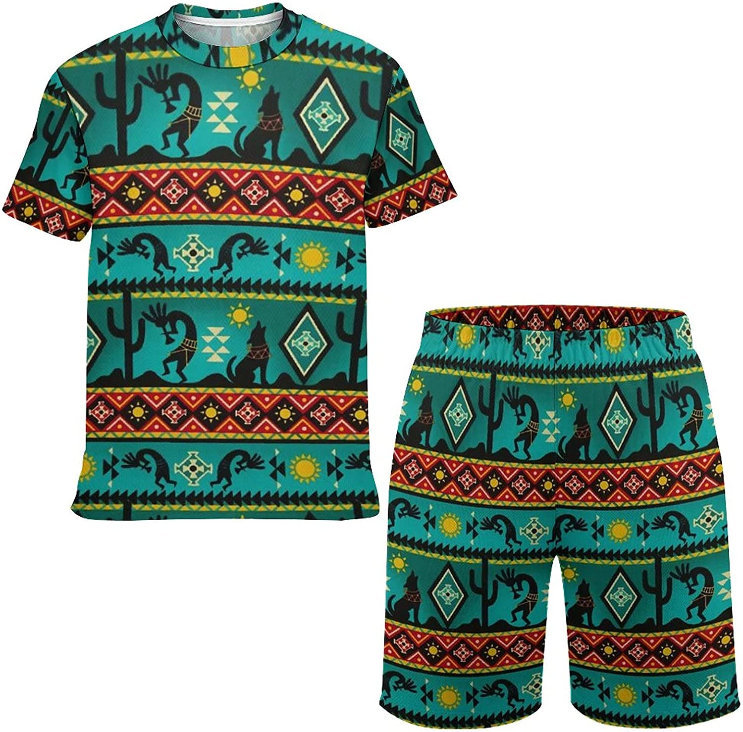 NiYoung Boys/Girls Southwestern Kokopelli Native American T-Shirt Shorts Suits Tracksuit Outfits Playwear Hoodies Game Clothing