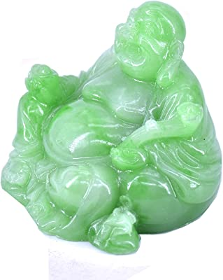 LHR trading inc Happy Buddha Statue - Sitting Laughing Buddha Feng Shui Figurines Wealth and Good Luck for Home & Office Décor - Inspirational Religious Happy Gifts (Green)