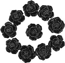 10PCS Black Ceramic Vintage Floral Rose Door Knobs Handle Drawer Kitchen + Screw by YUYIKES (Black)