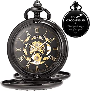 Vantenzone Mens Automatic Mechanical Engraved Pocket Watch Skeleton Personalized Gift for Groomsan Engraving