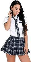 FEESHOW Women's School Girls Uniform Cosplay Costume Tie Top Shirt with Plaid Pleated Skirt Set