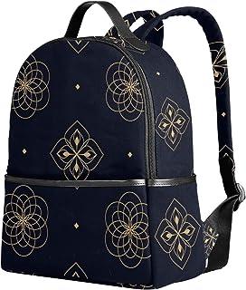 Emoya Segeltuch-Rucksack, Marineblau, Blumenmuster, rustikale Blumen, Schultasche für Teenager, Mädchen, Jungen, Büchertasche, Uni, Schule, Computertasche