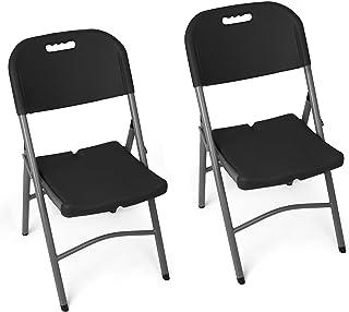 Vanage Klappstuhl in schwarz - Gartenstuhl im 2er Set - Klappsessel - Gartenmöbel - Stuhl für Garten, Terrasse und Balkon geeignet