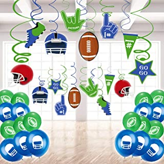 50 Pack American Football Hanging Swirl Decorations Balloons - Sport Game Day NFL Themed Party Super Bowl Party Birthday Party Fan Decors