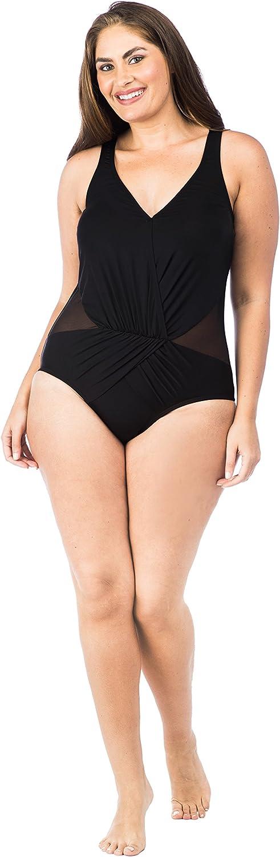 Kenneth Cole REACTION Women's Plus Size Tidal Wave Tie Dye Plunge One Piece Swimsuit
