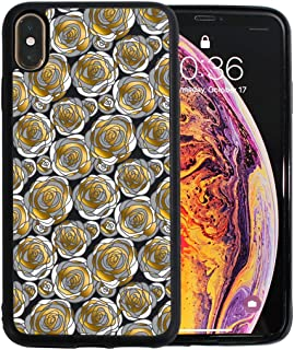 Wheele iPhone Xs Max case, Golden Rose Concept Flowers Shock Absorption 4 Corners Protection, Protective Cover Soft Scratch-Resistant TPU Compatible iPhone Xs Max 6.5 inch 2018