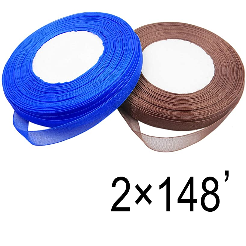 QY 2 Roll Pure Color 1/2 Inch 50-Yard Wired Chiffon Ribbon See Through Silk Ribbon for DIY Craft,  Blue and Coffee Brown