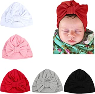 5 Pack Newborn Baby Solid Knot Hats Baby Girls Toddler Turban Bow Cap Infant Head Cap