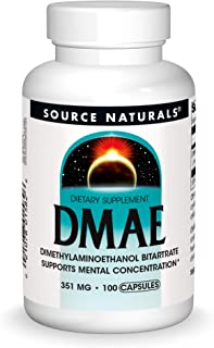 Source Naturals DMAE, Dimethylaminoethanol Bitartrate - Supports Mental Concentration - 100 Capsules