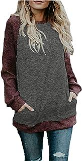 BLUETIME Women's Cotton Knitted Lightweight Raglan Long Sleeve Tunic Tops Shirt with Pocket