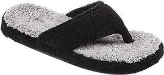 Acorn Women's Spa Thong with Premium Memory Foam Slipper, Black Colorblock