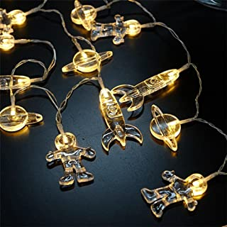 20 LED Children's Room LED String Light Astronaut Spaceship Rocket Pendants Holiday Party Lights Wall Window Nursery or Kids room Decor Wedding Around the Garden Party Patio Christmas (Warm White)