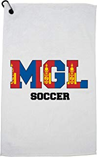 Hollywood Thread Mongolia Soccer - Olympic Games - Rio - Flag Golf Towel with Carabiner Clip