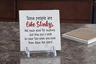 product image for Imagine Design Relatively Funny Some People are Like Slinkys, Travertine Coaster, Red/Black/White