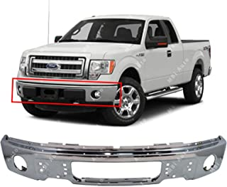 MBI AUTO - Chrome, Steel Front Bumper Face Bar Fascia for 2009 2010 2011 2012 2013 2014 Ford F150 Pickup W/Fog Light Holes 09-14, FO1002411