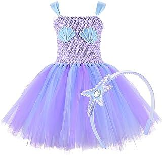 Mermaid Girls Tutu Dress with Headhand Halloween Costume Mermaid Dress Up for Party,Wedding,Cosplay,4T/6T/8T